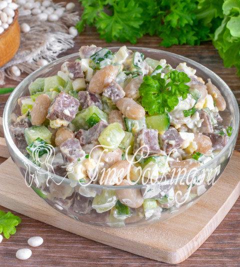 Салат с языком, фасолью и огурцом - рецепт