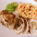 Куриные рулетики с ананасом и рис с овощами