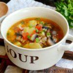 Грибной суп с фаршем и рисом