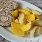 Мясной рулет с плавленым сыром, запечённый с картошкой