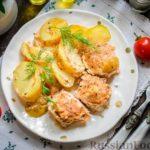 Тефтели, запечённые в сметанном соусе, с картошкой