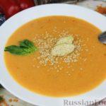 Чечевичный суп-пюре на рыбном бульоне, с рисом и сладким перцем