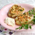 Перец, фаршированный кабачками, тушенный со сметаной и зеленью