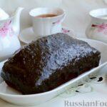 Шоколадно-кофейный кекс на молоке, с тахинной глазурью
