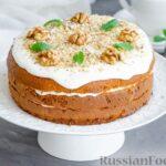 Медовый торт со сметанным кремом и орехами