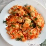 Вареники с картошкой, в томатном соусе