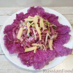 Салат из пурпурной пекинской капусты, огурцов и ветчины (без майонеза)