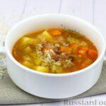 Картофельный суп с тушёнкой и рисом