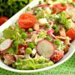 Салат с копчёной курицей, редиской, сыром фета и помидорами