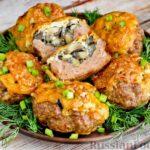 """""""Гнёзда"""" из мясного фарша с начинкой из грибов и сыра (в духовке)"""