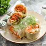Лаваш с начинкой из корейской моркови и редиса