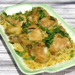 Куриные голени с рисом и консервированной фасолью, на сковороде