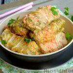Голубцы из пекинской капусты с фаршем из куриных сердечек и филе