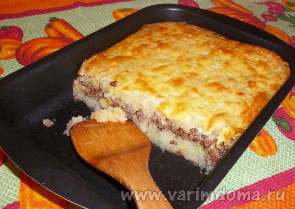 Картофельная запеканка с фаршем в духовке – рецепт с фото пошагово