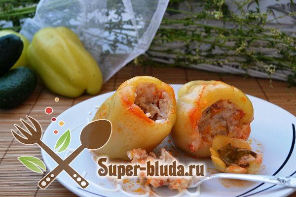 Перец фаршированный мясом и рисом – пошаговый фото рецепт в духовке