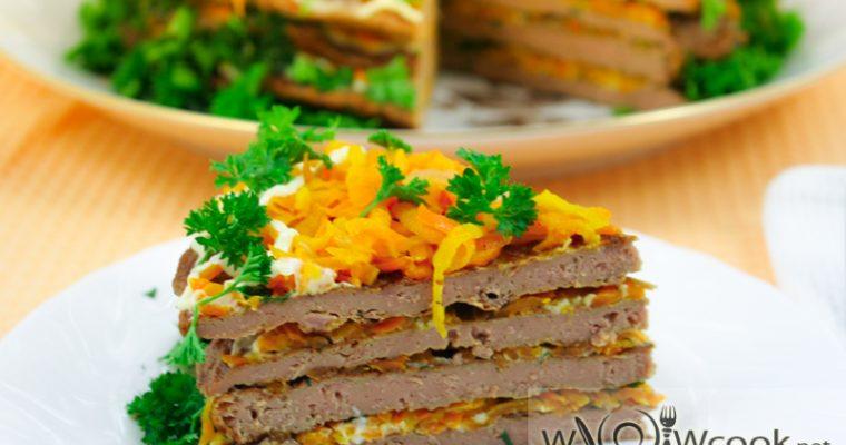 Печеночный торт из говяжьей печени с морковью – рецепт с фото пошагово