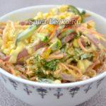 Салат Венеция с копченой колбасой и корейской морковью — рецепт