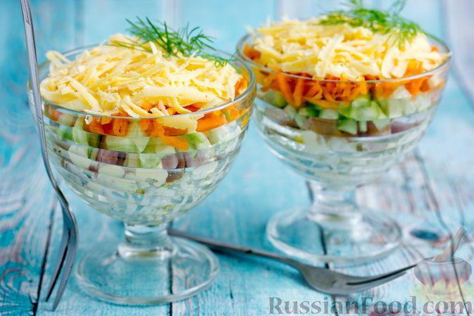 Праздничный салат с копченой курицей и корейской морковью — рецепт