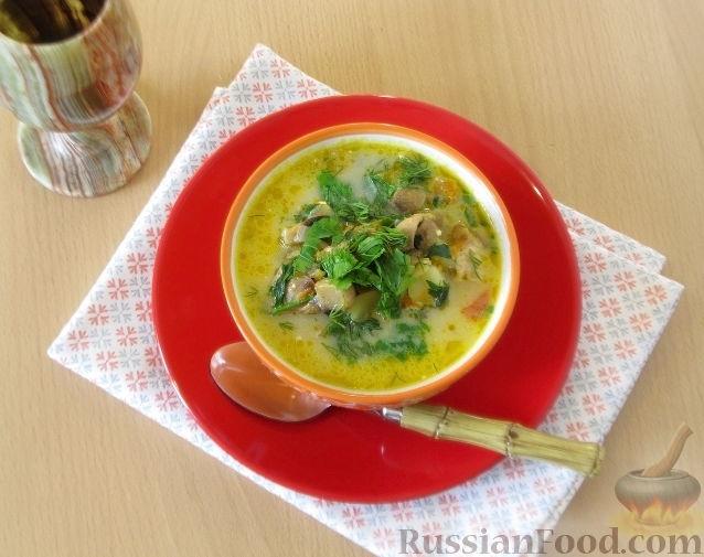 Куриный суп из шампиньонов с плавленным сыром — рецепт